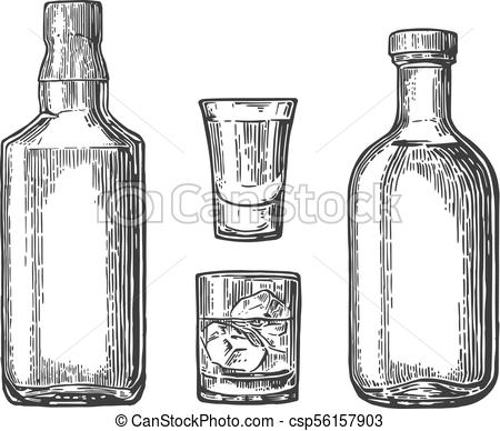 450x388 Whiskey And Tequila Glass, Bottle. Vector Color Engraving. Whiskey