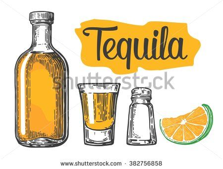 450x341 Glass And Bottle Of Tequila, Salt And Slice Of Lime.vintage Vector