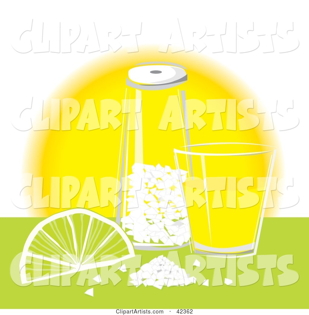 1024x1044 Tequila Shot Glass With Salt And A Lime On A Counter Clipart By