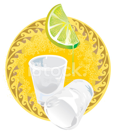 375x439 Tequila Shot Glasses With Lime Stock Vector