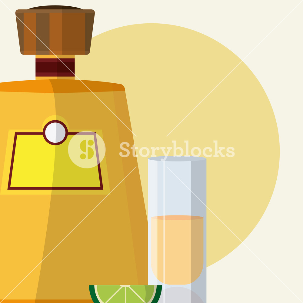 1000x1000 Tequila Bottle With Shot Vector Illustration Graphic Design