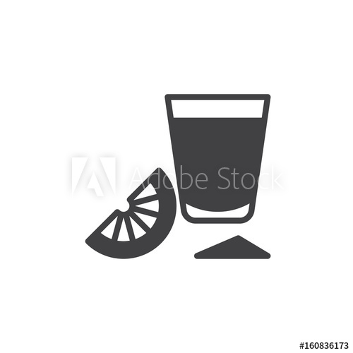500x500 Tequila Shot Glass With Lime Slice Icon Vector, Filled Flat Sign
