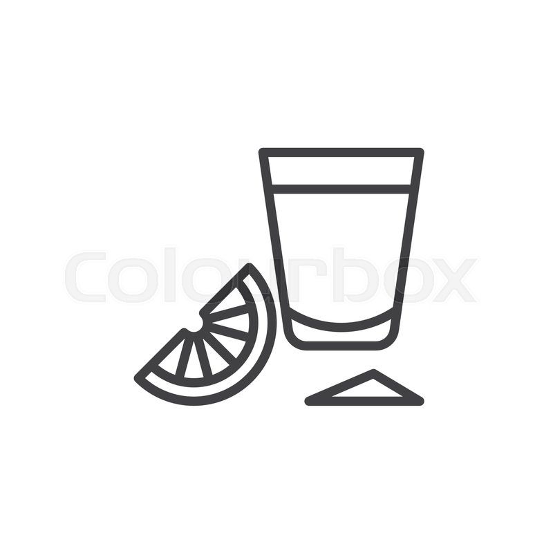 800x800 Tequila Shot Glass With Lime Slice Line Icon, Outline Vector Sign
