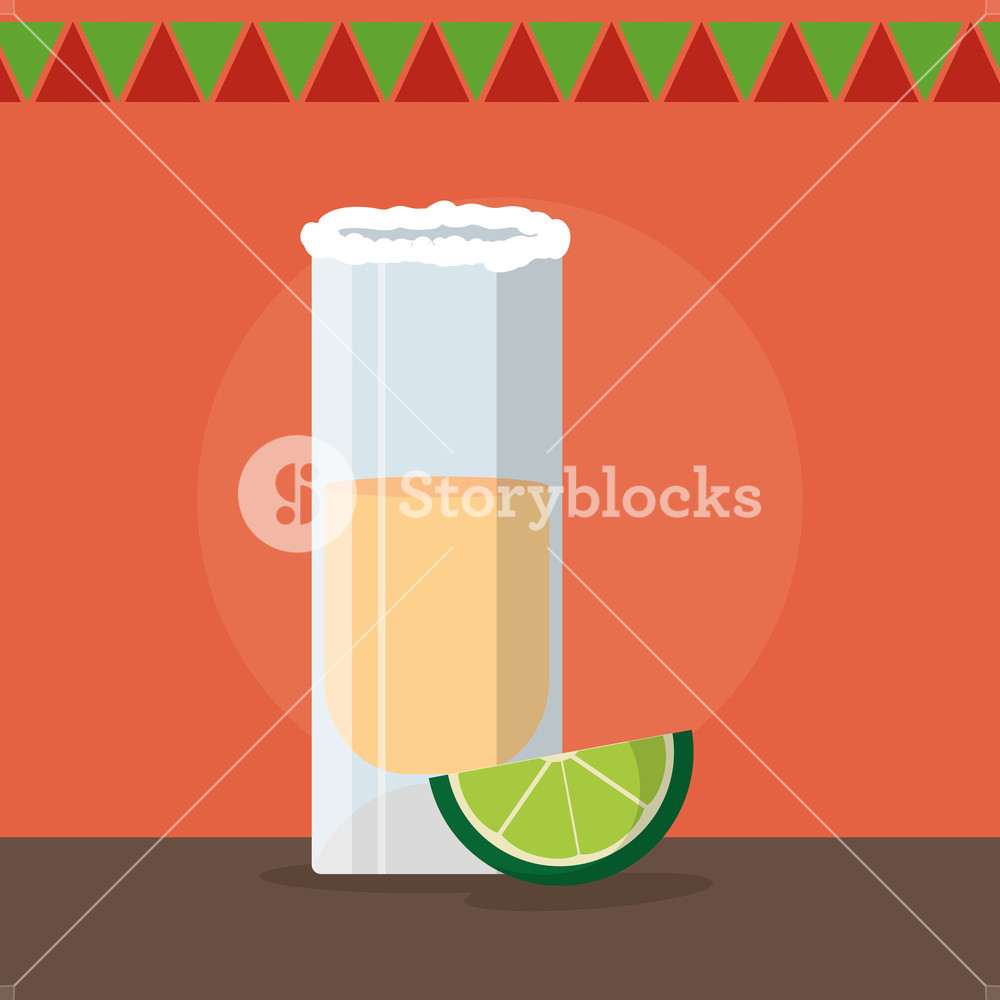 1000x1000 Tequila Shot Of Mexican Food And Traditional Cuisine Theme Vector