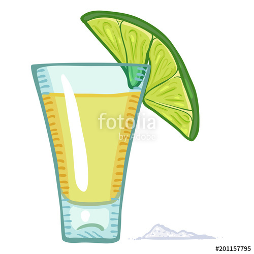 500x500 Vector Cartoon Tequila Shot With Lime Slice And Salt Stock Image