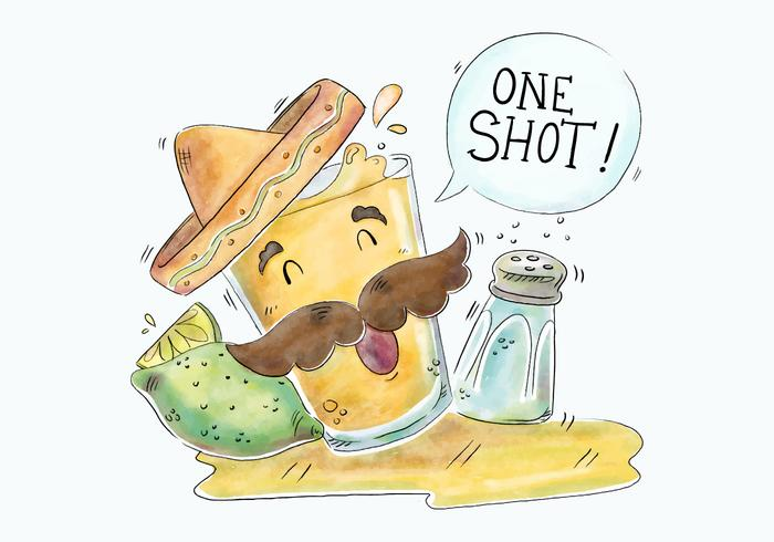 700x490 Cute Tequila Shot Character With Mexican Hat Vector