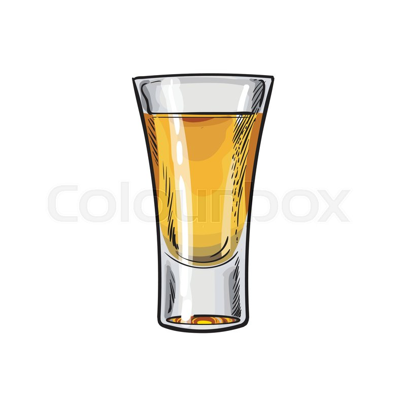 800x800 Full Glass Of Gold Tequila, Sketch Vector Illustration Isolated On