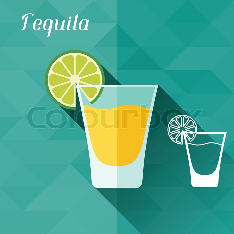 800x800 Illustration With Glass Of Tequila In Flat Design Style. Stock