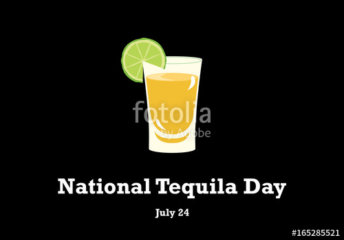 500x350 National Tequila Day Vector. Tequila With Lime On A Black
