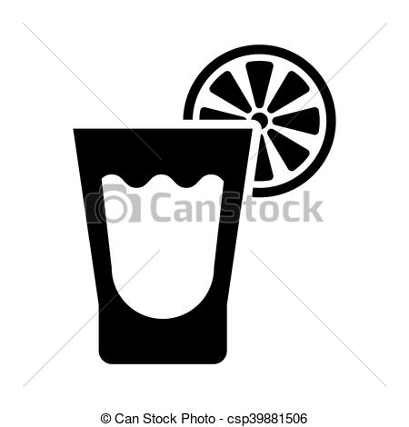 450x470 Short Glass Of Tequila And Lime. Tequila And Lime Icon Vector