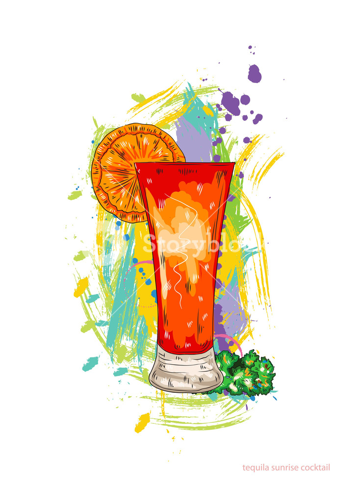 740x1000 Tequila Sunrise Cocktail Vector Illustration Royalty Free Stock