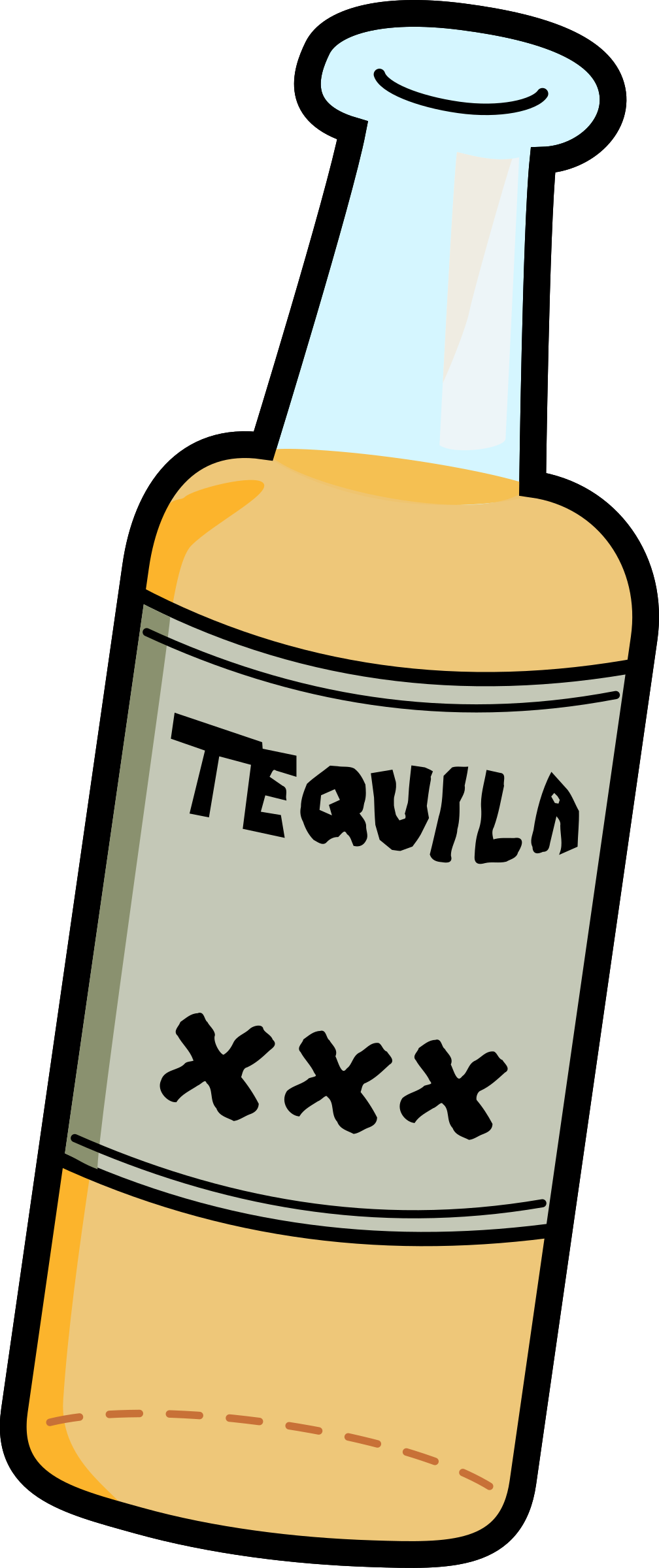 1008x2400 Bottle Of Hard Tequila Vector Clipart Image