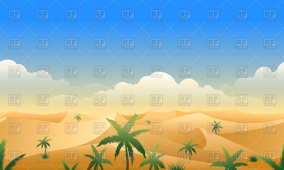 1200x720 Desert Panorama Horizontal Seamless Pattern. Deserts Rough Terrain