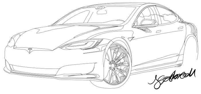 700x330 Tesla Model S P100d Vector Drawing (Wip)