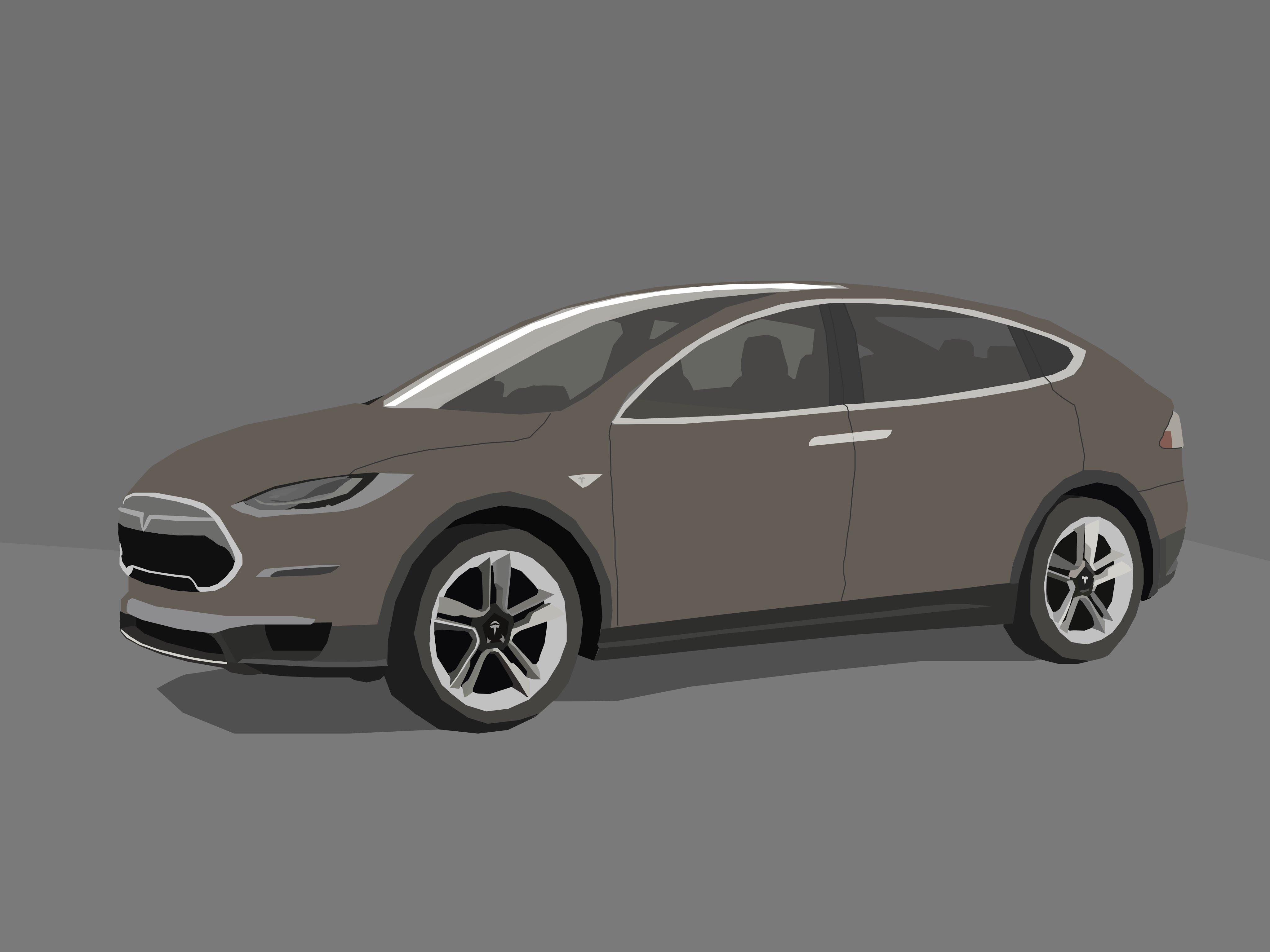 4096x3072 Tesla Model X Vector Art