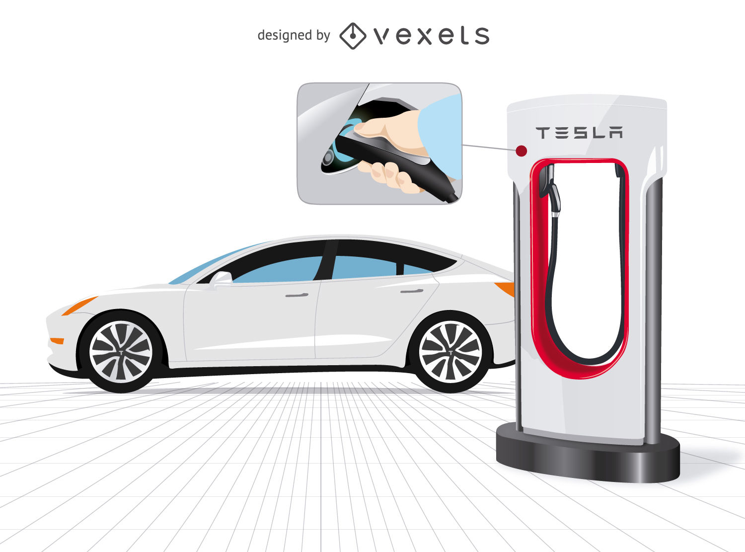 1500x1111 Tesla Car With Charger And Close Up