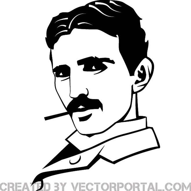 660x660 Nikola Tesla Portrait Free Vector 123freevectors