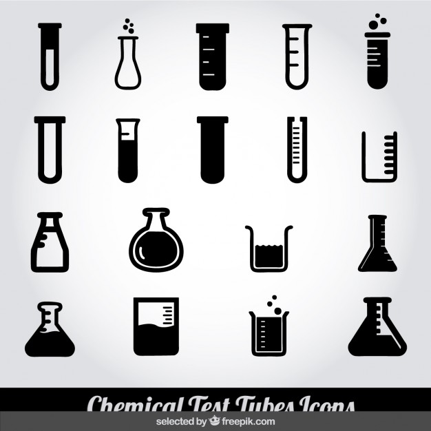 626x626 Monochrome Chemical Test Tubes Icons Vector Free Download