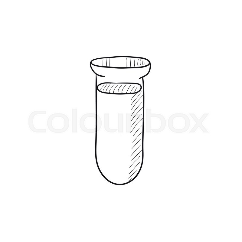 800x800 Test Tube Vector Sketch Icon Isolated On Background. Hand Drawn