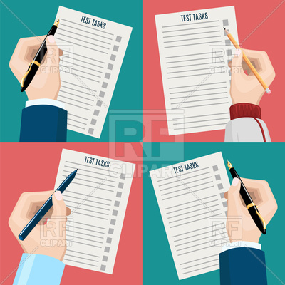 400x400 Left Hand And Right Hand, Write Examination Test Vector Image