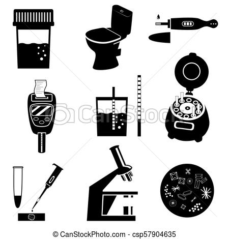 450x470 Urine Test Vector Illustration. Silhouettes Of Urine Test Analysis
