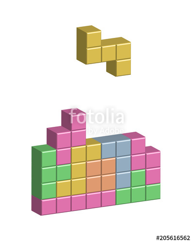 398x500 Colorful Tetris Game With Falling Blocks Stock Image And Royalty