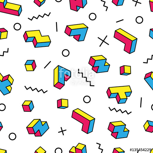 500x500 Colorful Tetris 3d Blocks And Various Graphic Elements On White