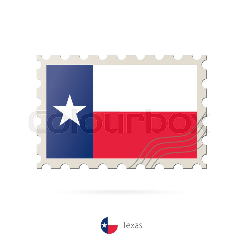 800x800 Postage Stamp With The Image Of Texas State Flag. Texas Flag