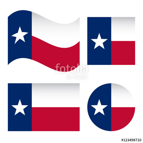 500x500 Texas Flag, Different Shapes Set, Isolated On White Background