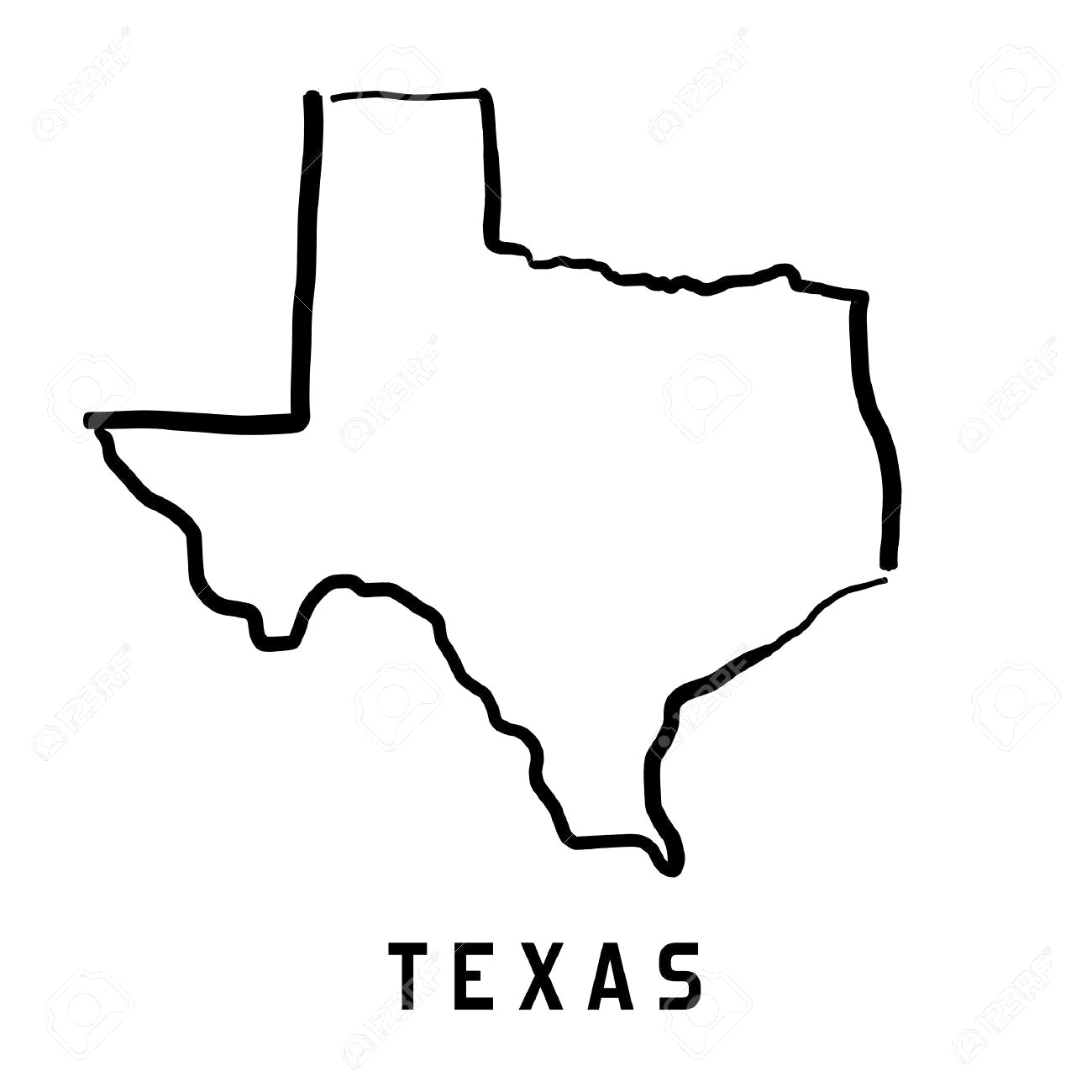 1300x1300 Texas Map Outline Smooth Simplified Us State Shape Vector