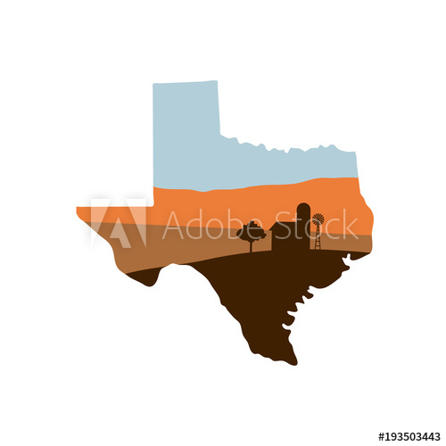 500x500 Texas State Shape With Farm