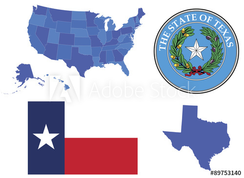500x365 Vector Illustration Of State Texas,contains High Detailed Map Of