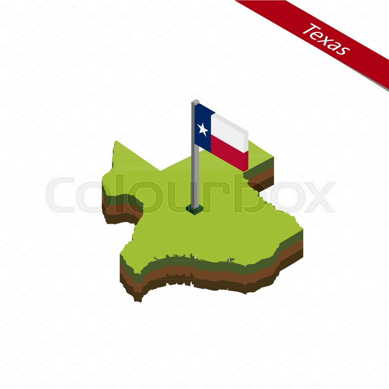 800x800 Isometric Map And Flag Of Texas. 3d Isometric Shape Of Texas State