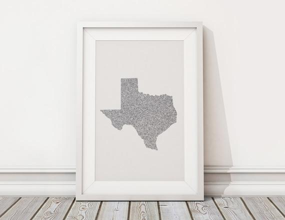 570x440 Printable Vector Art Texas State Silhouette Glitter State Etsy