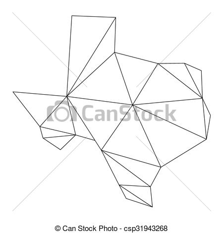 450x470 Black Polygonal Texas Vector Map.