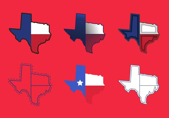 700x490 Texas Map Vector Icons