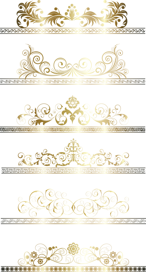 500x933 Floral Gold Ribbons Borders Vector Set Free Download