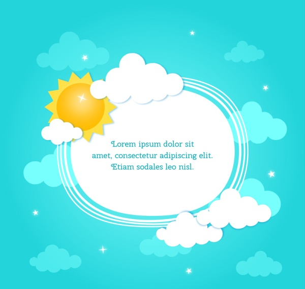 600x570 Sun With Cloud And Text Box Vector Background