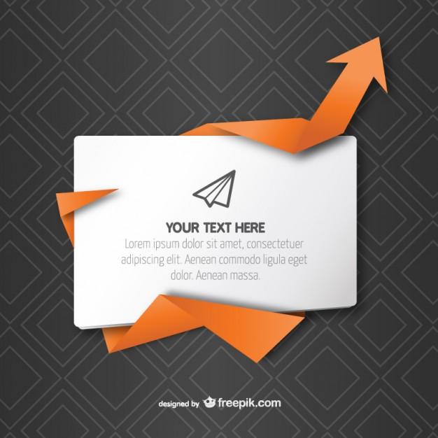 626x626 Text Box With Origami Arrow Free Vector Free Vectors Ui Download