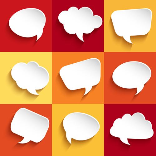 500x500 White Paper Speech Bubbles Vector Free Download