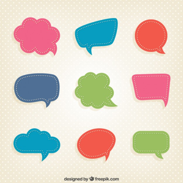 626x626 Colorful Speech Bubbles In Cut Out Style Vector Free Download