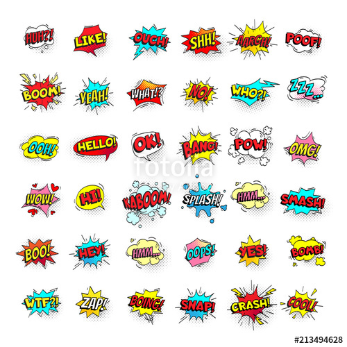 500x500 Comic Bubbles. Cartoon Text Balloons. Pow And Zap, Smash And Boom