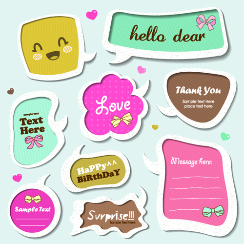 500x500 Cute Speech Bubbles For You Text Vector 08 Free Download