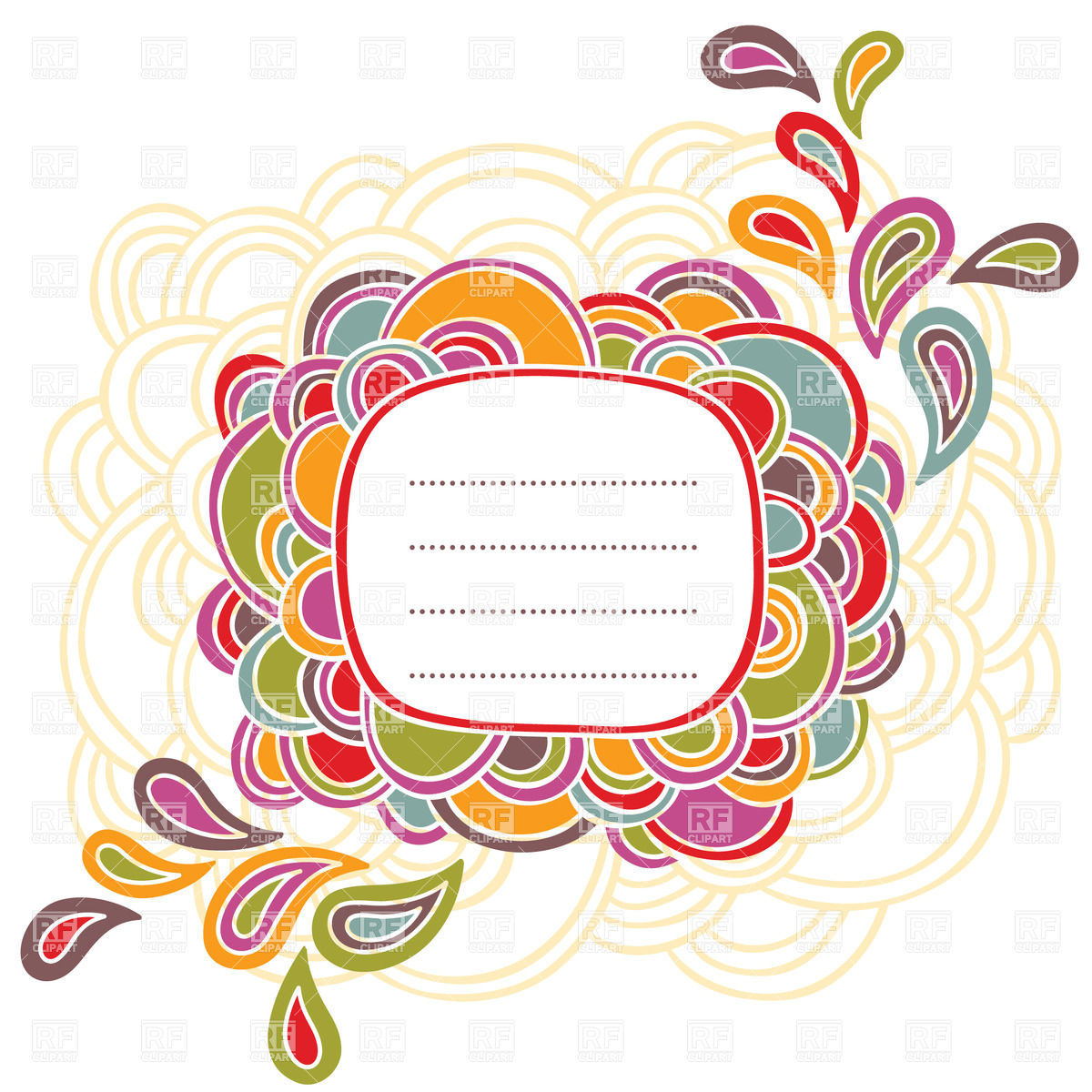 1200x1200 Text Frame Made Of Colorful Ovals Vector Image Vector Artwork Of
