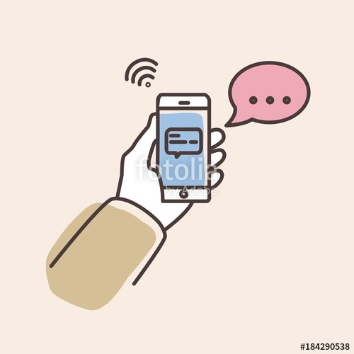 500x500 Hand Holding Smartphone With Text Message On Screen And Speech
