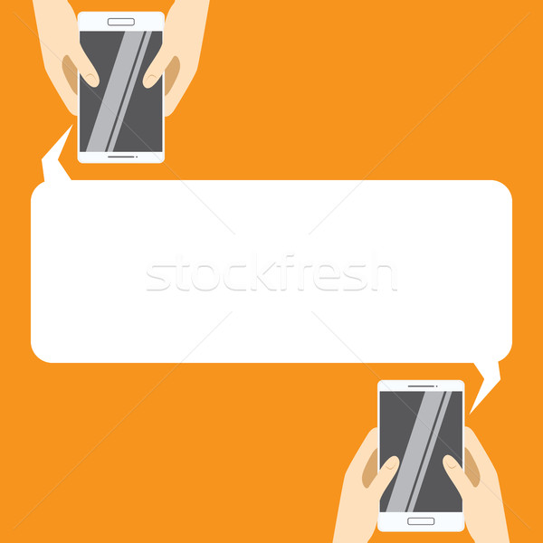 600x600 Hands Holing White Smartphones With Blank Speech Bubble For Text