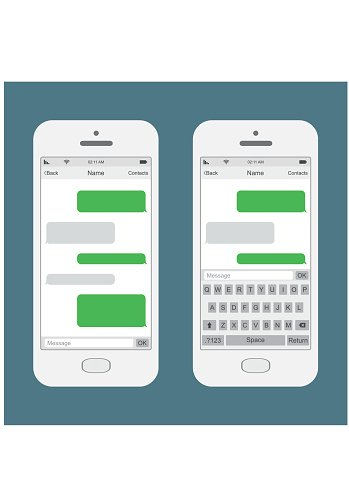 349x494 Smartphone Chatting Sms Messages Speech Vector Illustration