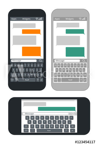 334x500 Smartphone With Blank Text Message Bubbles And Keyboard Vector