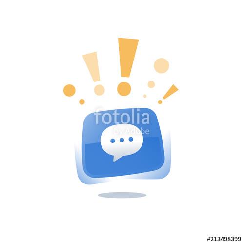 500x500 Speech Bubble Blue Button, Online Live Chat Text Message, Mobile