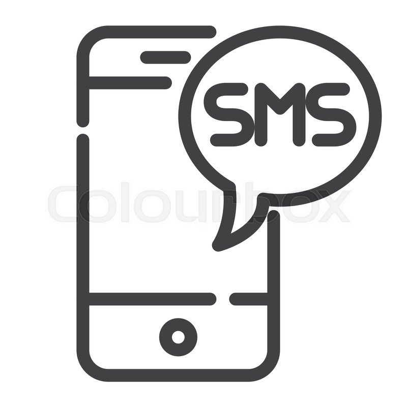 800x800 Sms Message Line Icon, Outline Vector Sign, Linear Style Pictogram